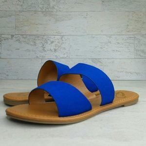 Cobalt Blue Two-Banded Slip-On Faux Suede Sandal 7